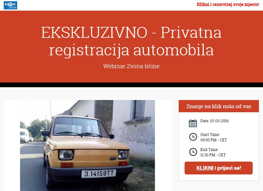 Privatna registracija automobila webinar